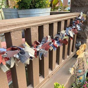 3 foot primitive rustic handmade rag garland